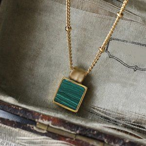 NEW 18K Gold Plated Square Malachite Necklace